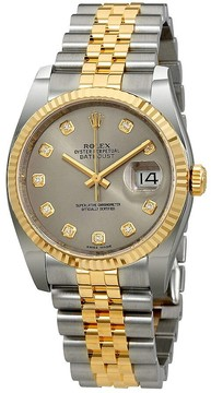 Rolex Datejust 36 Rhodium Diamond Dial Automatic Diamond Ladies Steel and 18kt Yellow Gold Jubilee Watch