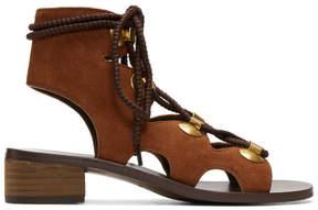 See by Chloe Orange Suede Gladiator Tie Sandals
