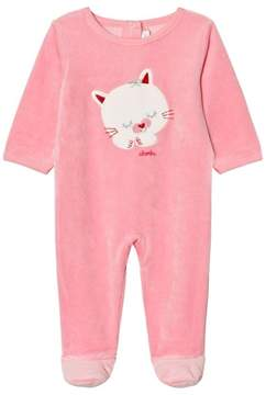 Absorba Bright Pink Cat Applique Babygrow