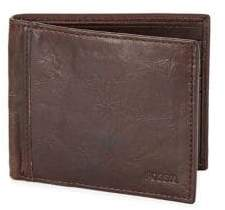 Fossil Logo Leather Bi-Fold Wallet