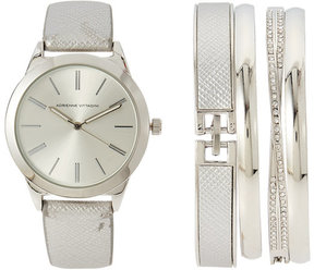 Adrienne Vittadini ADST1751 Silver-Tone Watch & Bangle Set