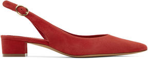 Mansur Gavriel Red Suede Slingback Heels