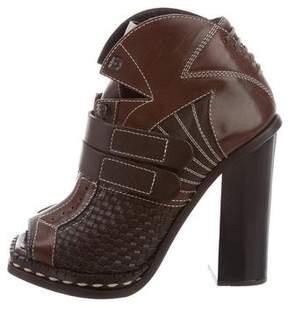 Proenza Schouler Woven Leather Peep-Toe Booties