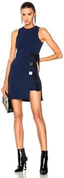 David Koma Metal Square & Ribbon Detail Sleeveless Dress in Black,Blue.