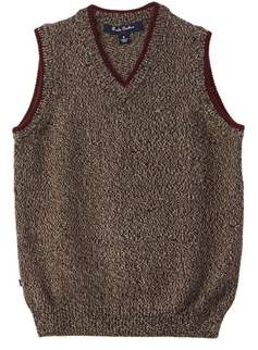 Brooks Brothers Boys' Brown Marled Wool Sweater Vest.