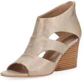 Donald J Pliner Jenkin Leather Demi-Wedge Sandals, Gray