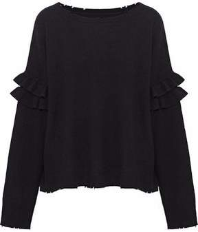 Current/Elliott Distressed Ruffle-Trimmed Wool And Cashmere-Blend Sweater