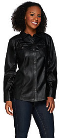 Denim & Co. As Is Faux Leather Shirt with Seaming Detail