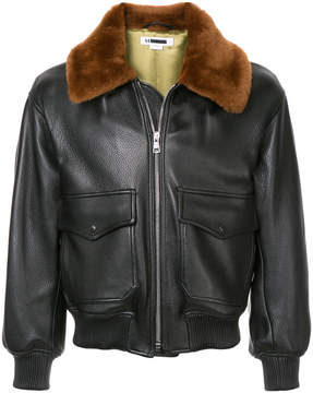 H Beauty&Youth elasticated detail leather jacket