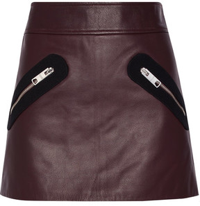 Versus Versace - Twill-trimmed Leather Mini Skirt - Burgundy