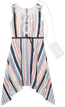 Knitworks Knit Works Belted Sleeveless Stripe A-Line Dress - Big Kid Girls