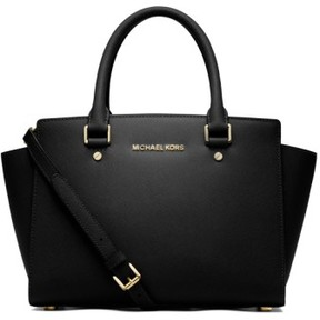 MICHAEL Michael Kors 'Medium Selma' Leather Zip Top Satchel - Black