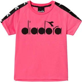 Diadora Fluro Pink And Black Branded Sleeve T-Shirt