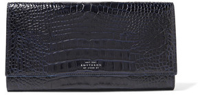 Smythson - Mara Marshall Croc-effect Glossed-leather Travel Wallet - Midnight blue