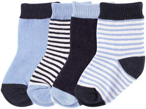 Luvable Friends Blue & Navy Three-Pair Non-Skid Socks Set - Infant & Kids