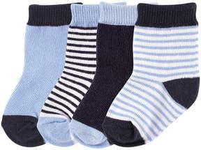 Luvable Friends Blue & Navy Three-Pair Non-Skid Socks Set - Infant & Kids