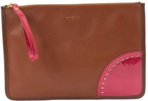 Sergio Rossi Brown Leather Clutch Bag