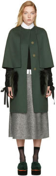 Fendi Green Long Fur Pocket Cape Coat
