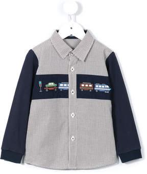 Familiar train embroidered gingham shirt