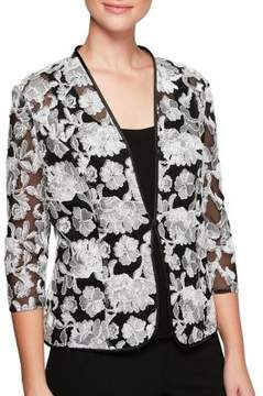 Alex Evenings Two-Piece Quarter-Sleeve Embroidered Jacket and Scoopneck Camisole Twinset