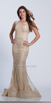 Dave and Johnny Sleeveless Scroll Embroidered Jersey Evening Dress
