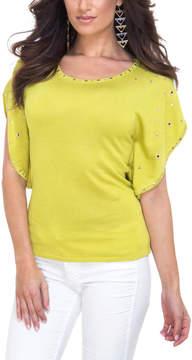 Belldini Chartreuse Embellished Flutter-Sleeve Top - Women