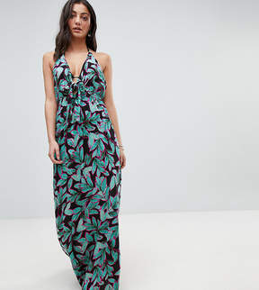 Asos Tall TALL Tropical Pop Print Bunny Tie Woven Maxi Dress