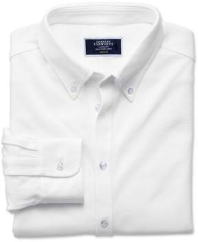 Charles Tyrwhitt White Oxford Jersey Cotton Casual Shirt Size Large