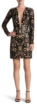 Dress the Population Women's Claudia Plunging Illusion Sequin Lace Minidress