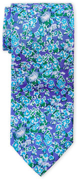 Altea Blue Floral-Print Cotton Tie