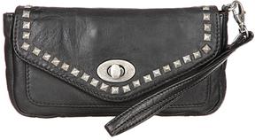 Black & Silvertone Studded Leather Wristlet