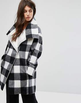 French Connection Plaid Check Mix Coat
