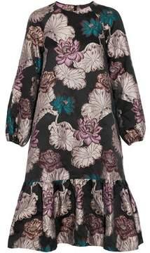 Co Ruffled Metallic Floral-Brocade Dress