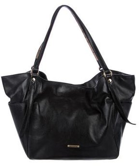 Burberry Canterbury Leather Side Pocket Tote - BLACK - STYLE