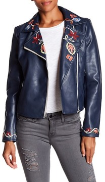Bagatelle Embroidered Faux Leather Jacket