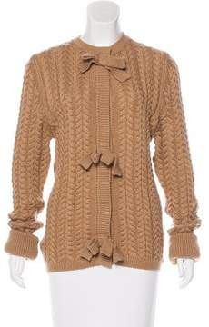 Andrew Gn Wool Bow-Accented Cardigan