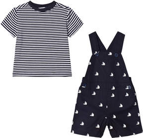 Andy & Evan Navy Sailboat Overall with Striped T-shirt
