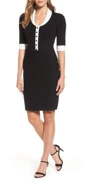 Anne Klein Shawl Collar Knit Sheath Dress