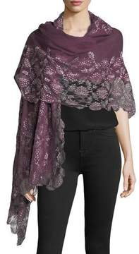 Bindya Lace-Trim Evening Stole/Wrap, Plum