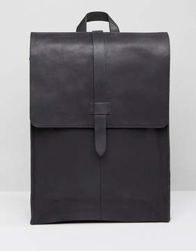 Asos Leather Backpack In Matt Black Finish