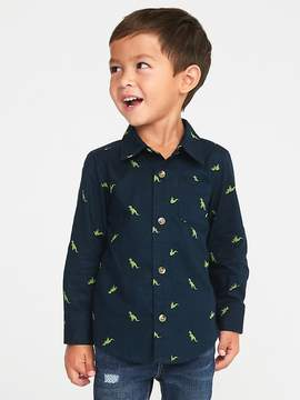 Old Navy Dinosaur-Print Slub-Weave Shirt for Toddler Boys