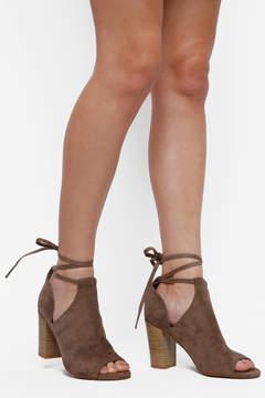 BC Footwear Taupe Peep Toe Ankle Wrap Heels