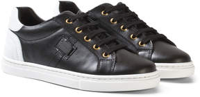 Dolce & Gabbana Black and White Leather Laced Trainers