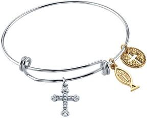 1928 14k Gold-Plated Cross Fish & Medallion Bangle Bracelet