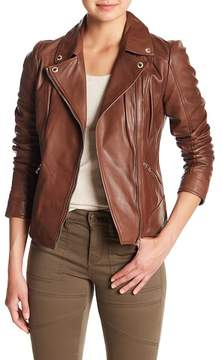GUESS Notch Collar Leather Jacket