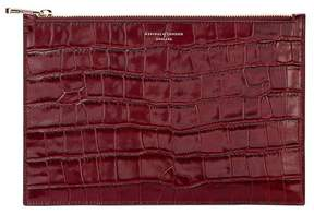 Aspinal of London Large Essential Flat Pouch In Deep Shine Bordeaux Croc
