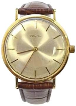 Zenith Vintage Gold & Leather Silver Dial Manual 33mm Mens Watch