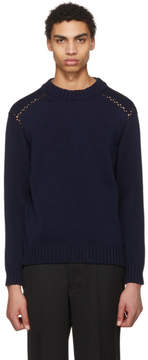 Jil Sander Navy Crochet Detail Sweater