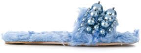 Miu Miu embellished shearling sandals