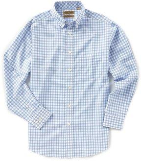 Roundtree & Yorke Gold Label Non-Iron Long-Sleeve Plaid Checked Dobby Sportshirt